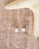 OraTen Single Bead Brass Earrings-White Melon