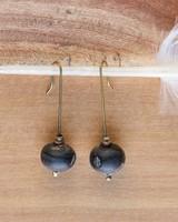 OraTen Single Bead Brass Earrings-Horn