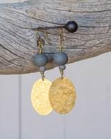 OraTen Hammered Disk Brass Earrings w/ Bead-Soft Blue