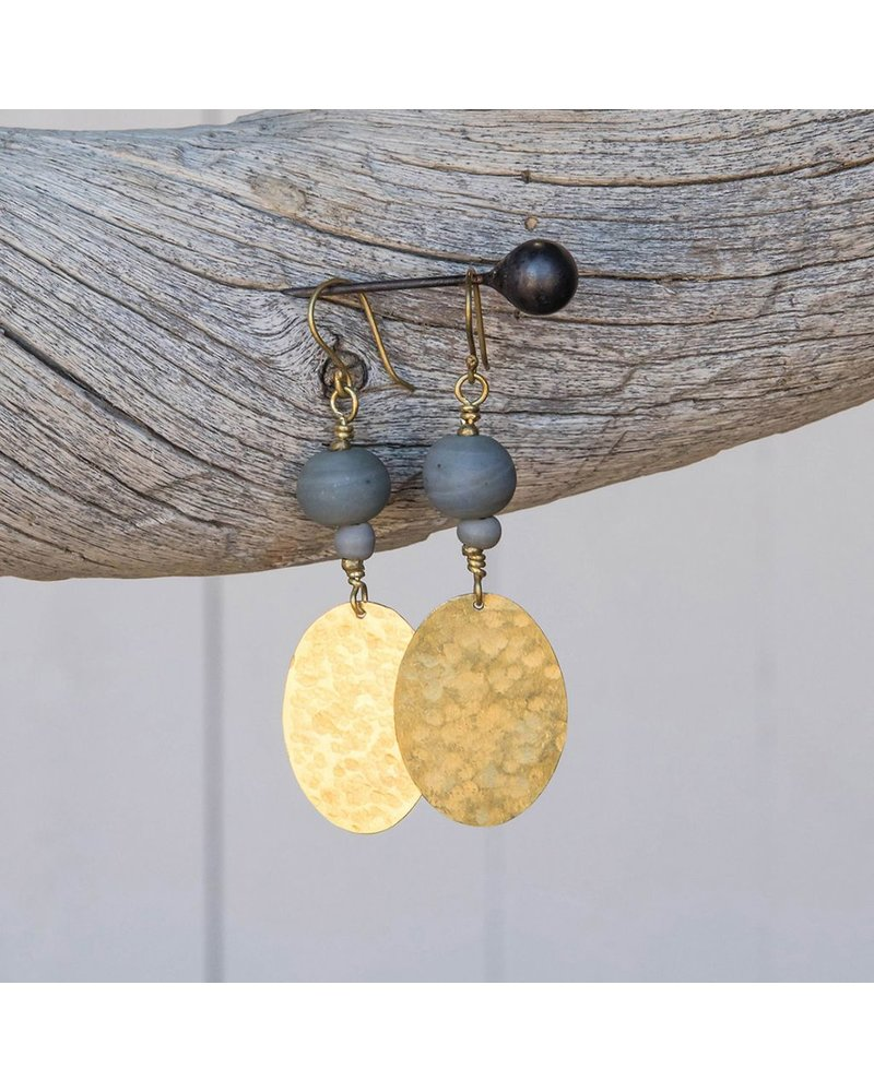 OraTen Hammered Disk Brass Earrings w/ Bead-Soft Blue