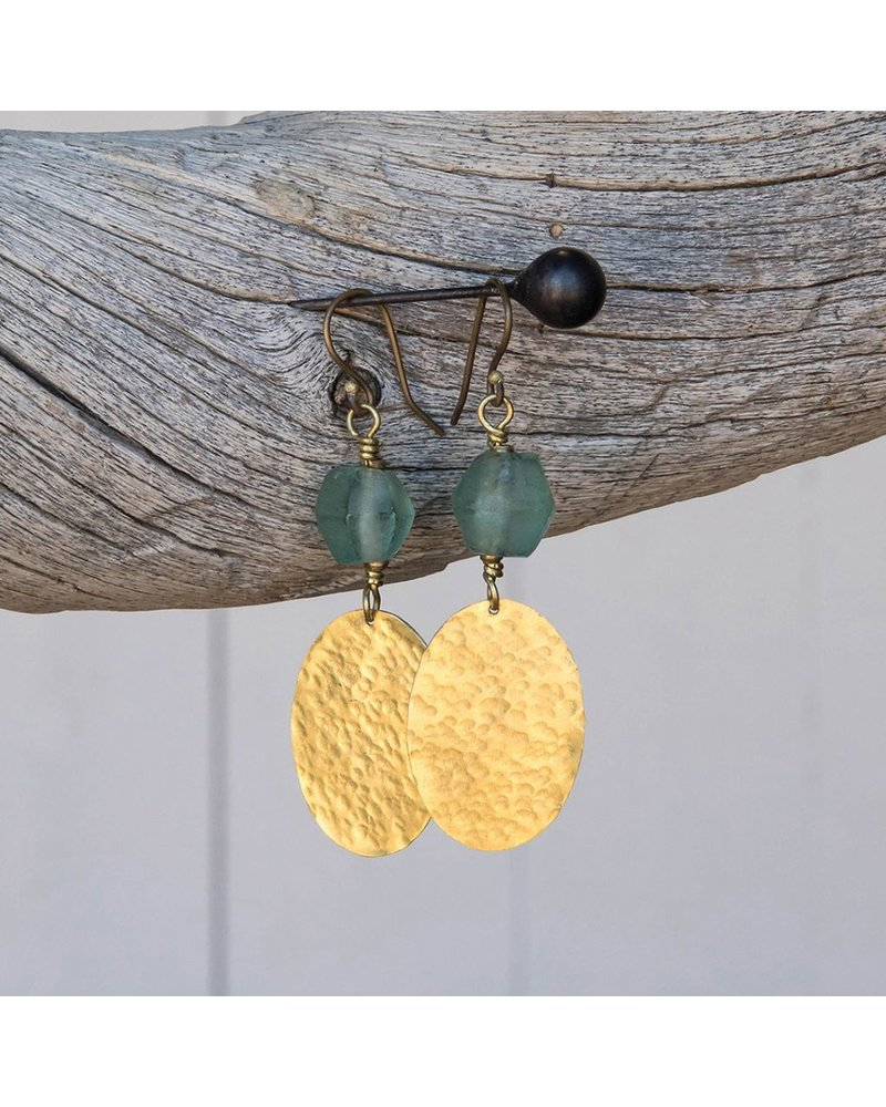 OraTen Hammered Disk Brass Drop Earrings w/ Seaglass-Aqua