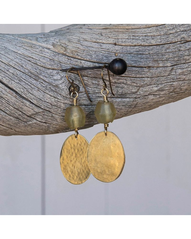 OraTen Hammered Disk Brass Drop Earrings w/ Seaglass-Amber