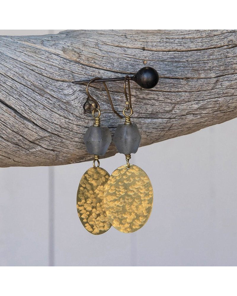 OraTen Hammered Disk Brass Drop Earrings w/ Seaglass-Grey