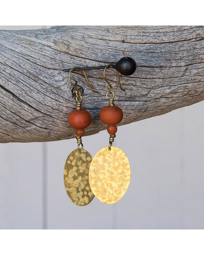 OraTen Hammered Disk Brass Earrings w/ Bead-Persimmon