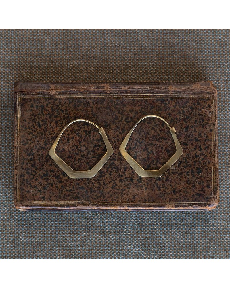 OraTen Hexagon Brass Earrings