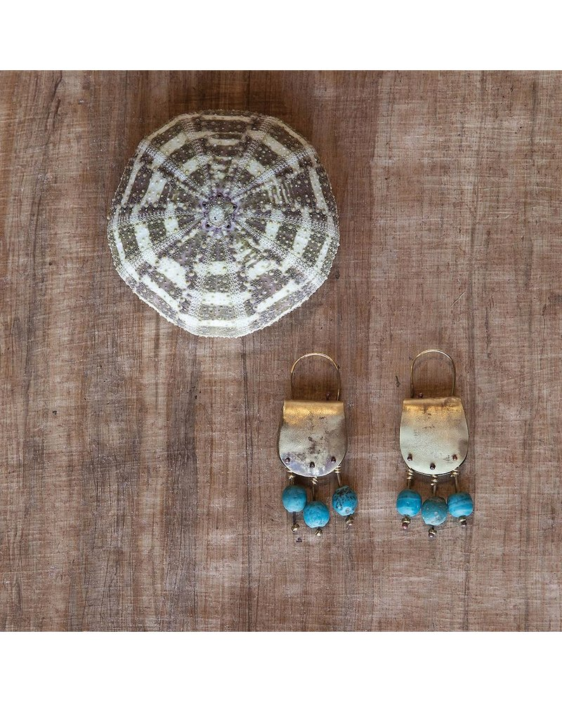 OraTen Earthen Teal Brass Earrings
