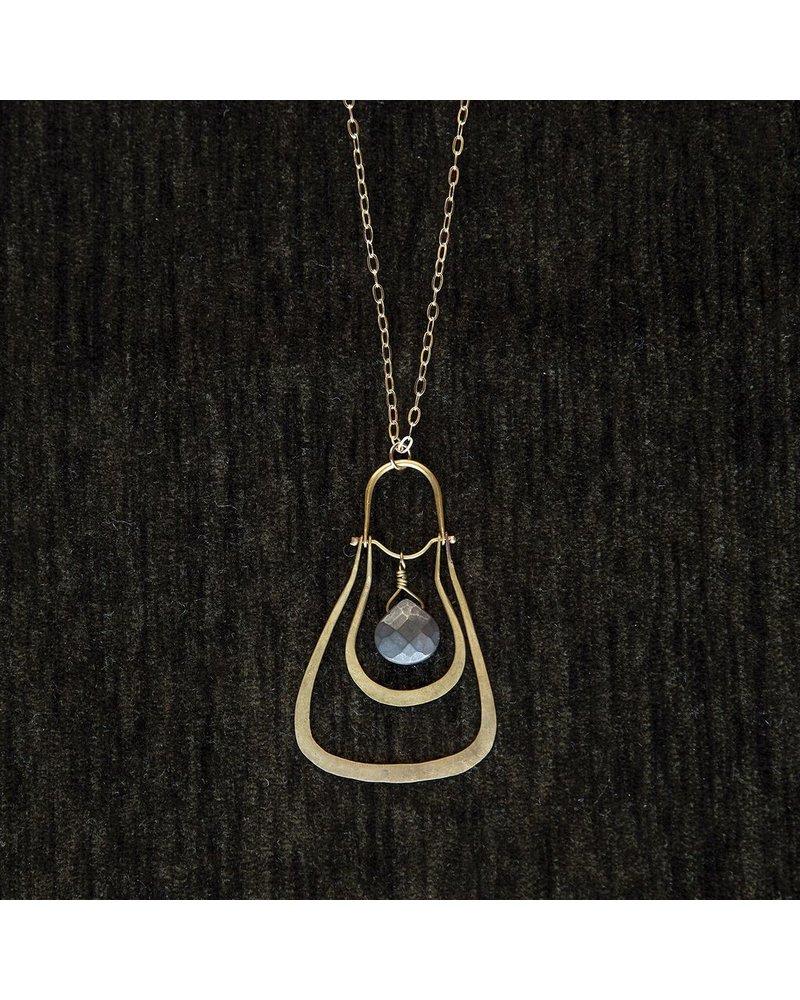 OraTen Dropped Trapezoid Brass Pendant-Pyrite