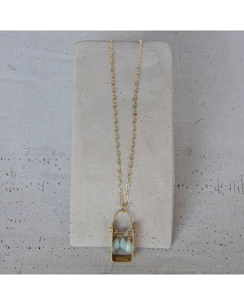 OraTen Boxed Gem Brass Necklace-Amazonite