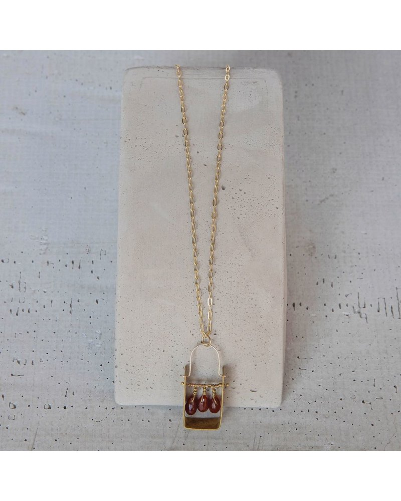 OraTen Boxed Gem Brass Necklace-Carnelian