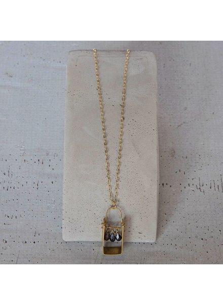 OraTen Boxed Gem Brass Necklace-Iolite
