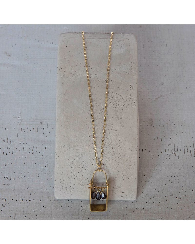 OraTen Boxed Gem Brass Necklace-Iolite