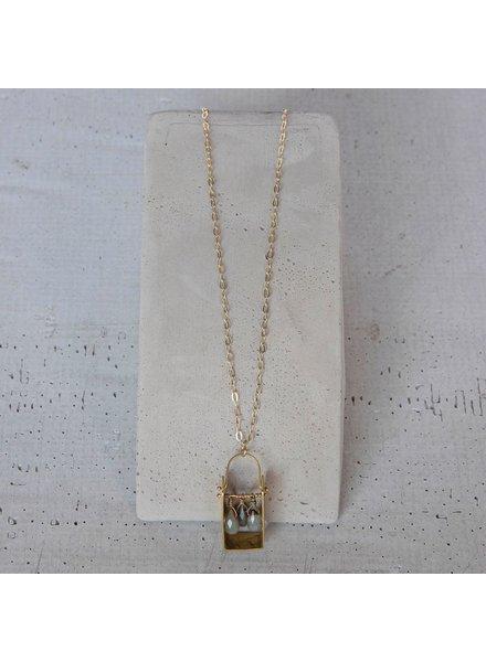 OraTen Boxed Gem Brass Necklace-Labadorite