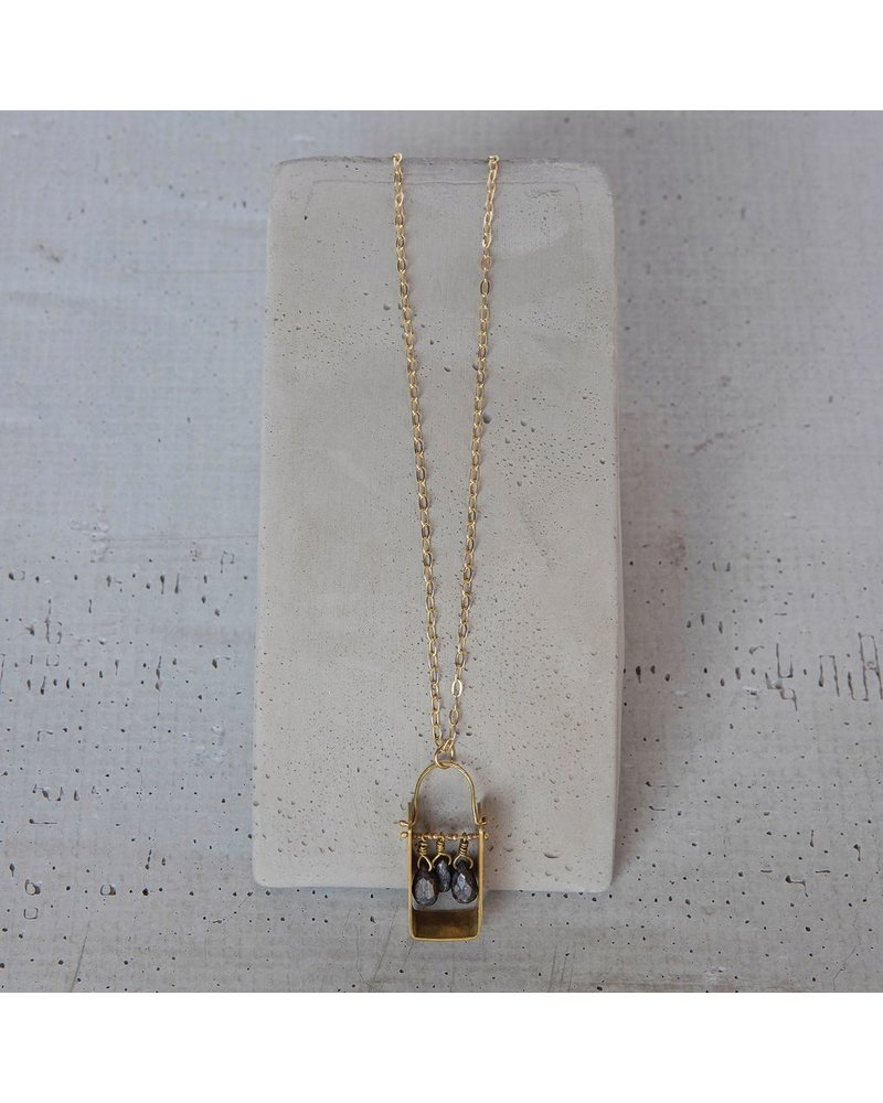 OraTen Boxed Gem Brass Necklace-Pyrite