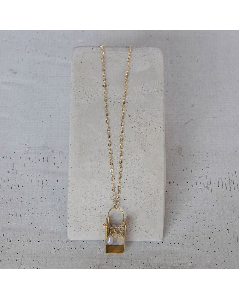 OraTen Boxed Gem Brass Necklace-White Onyx