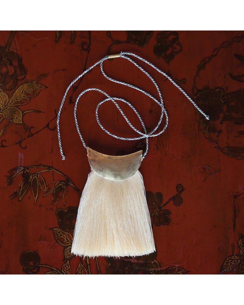 OraTen Brass Fringe Necklace, White