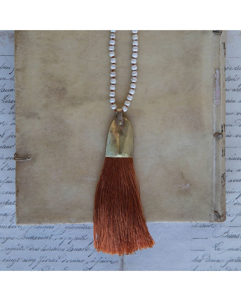 OraTen Brass and Tassel Pendant-Orange