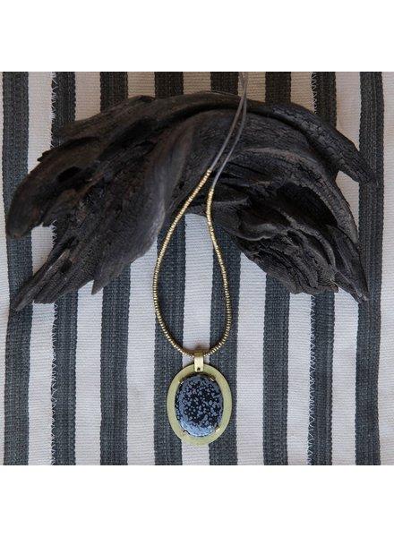 OraTen Prong Set Brass Pendant-Snowflake Obsidian