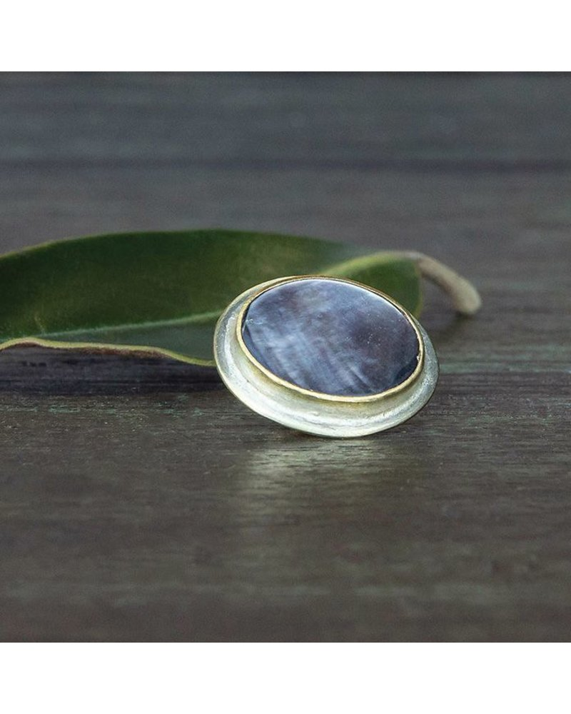 OraTen Lapel Brass Pin-Mother of Pearl - Oval