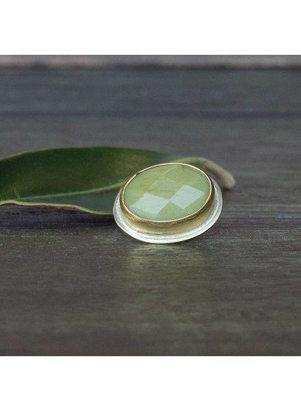 OraTen Lapel Brass Pin-Olive Jade
