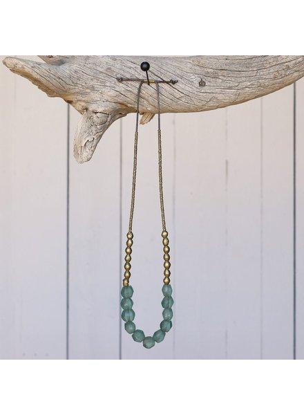 OraTen Seaglass Beaded Brass Necklace-Aqua