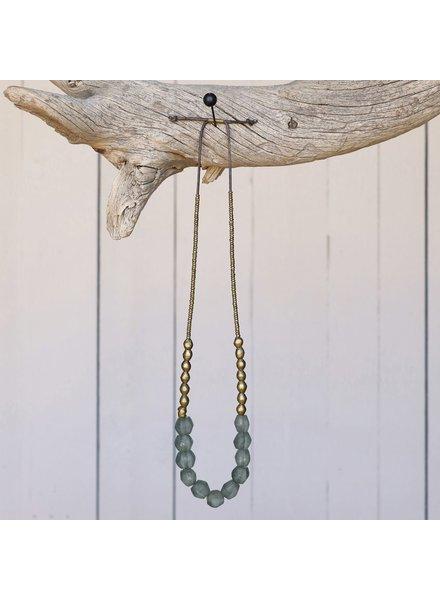 OraTen Seaglass Beaded Brass Necklace-Grey