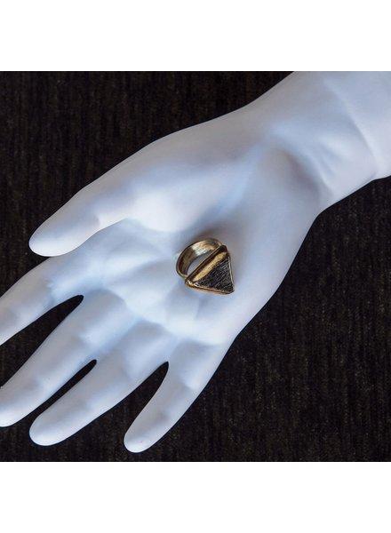 OraTen Adjustable Brass Ring-Depleted Zebra Jasper