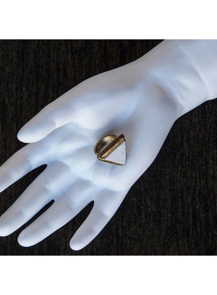 OraTen Adjustable Brass Ring-Howlite