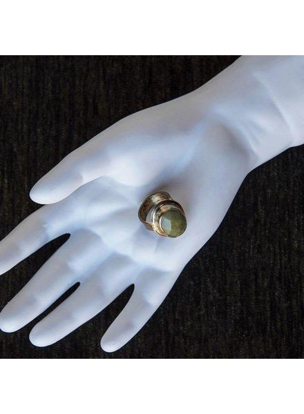 OraTen Adjustable Brass Ring-Olive Jade