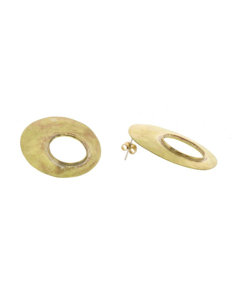 OraTen Oval Void Brass Earrings