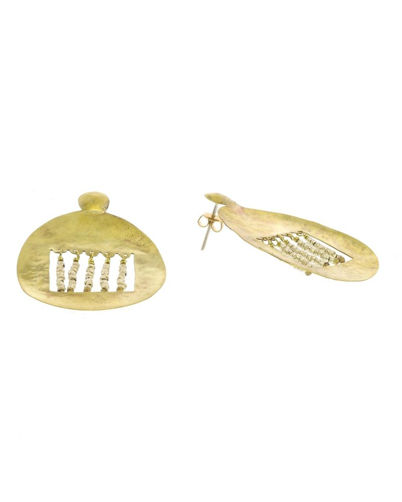 OraTen Picado Brass Earrings, Nickel Beads