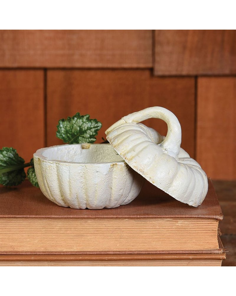 HomArt Pumpkin Cast Iron Box - White