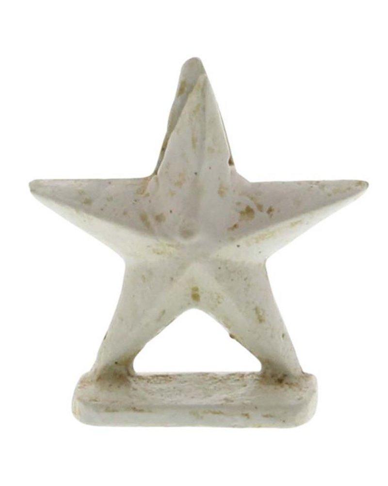 HomArt White Star Cast Iron Placecard Holder