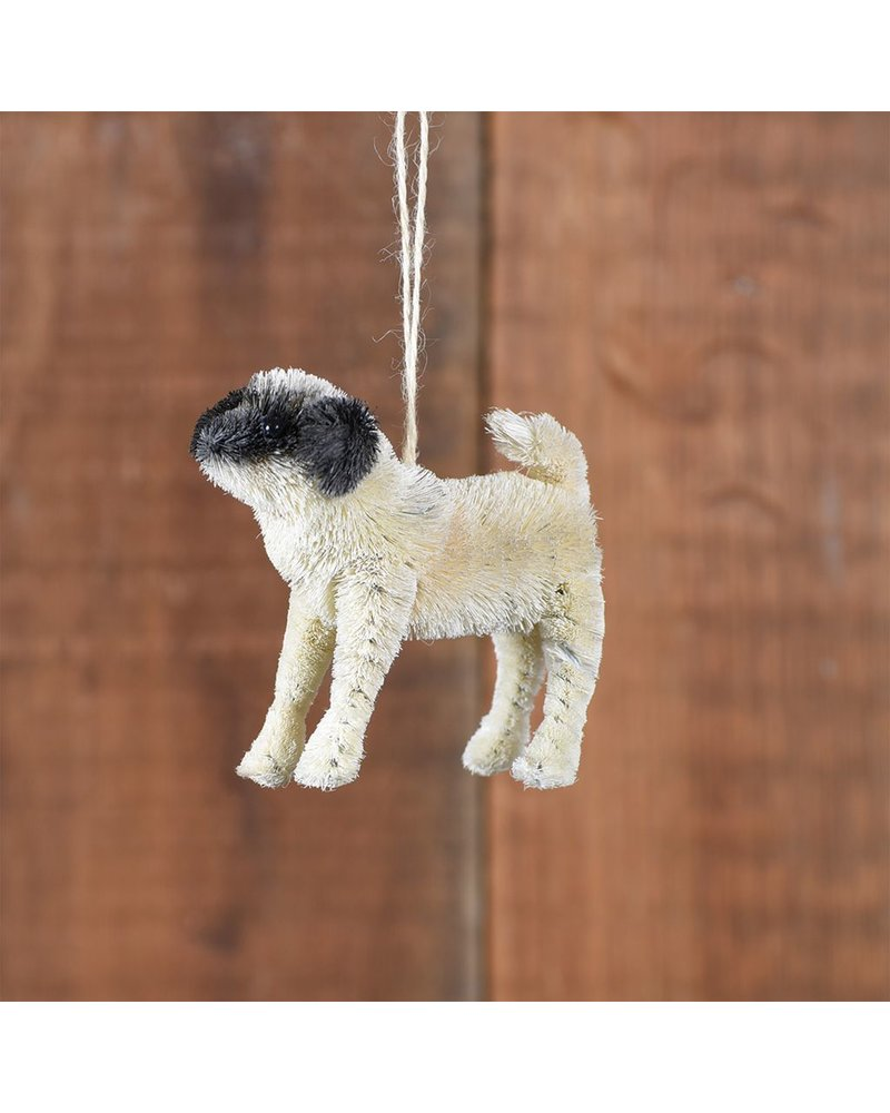 HomArt Pug Bottle Brush Ornament-White