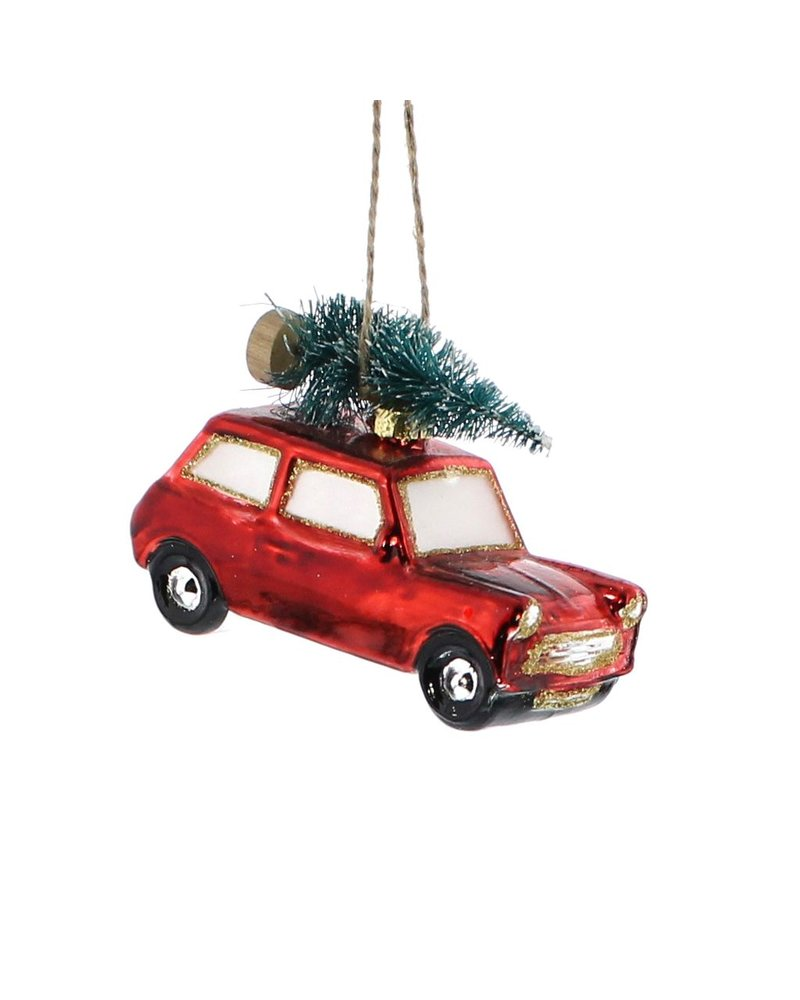 HomArt Glass Red Car with Tree Ornament