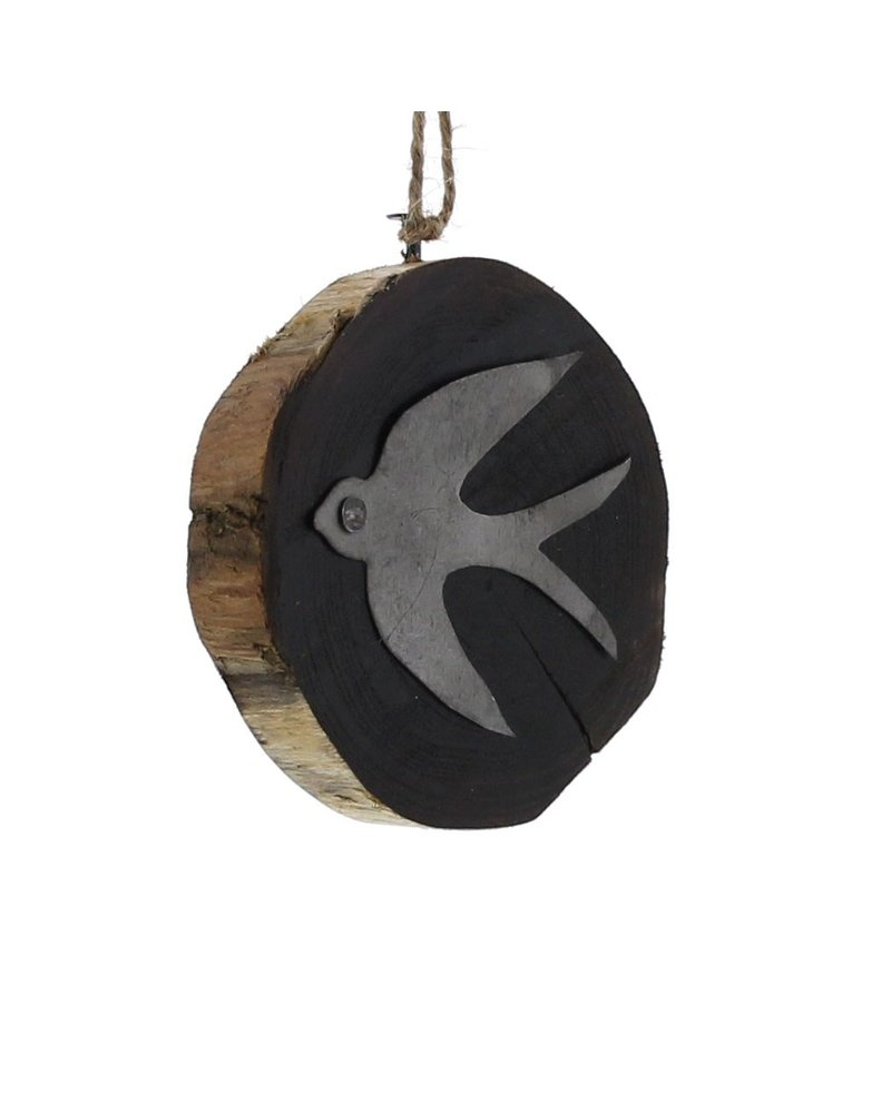 HomArt Wood Slice Ornament - Swallow