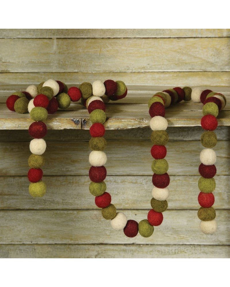HomArt Felt Ball Garland-Red-Green-White