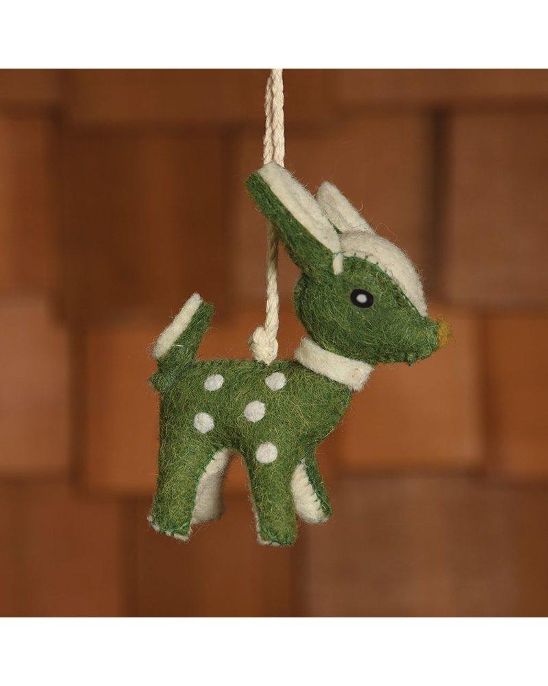 HomArt Felt Christmas Deer Ornament-Green