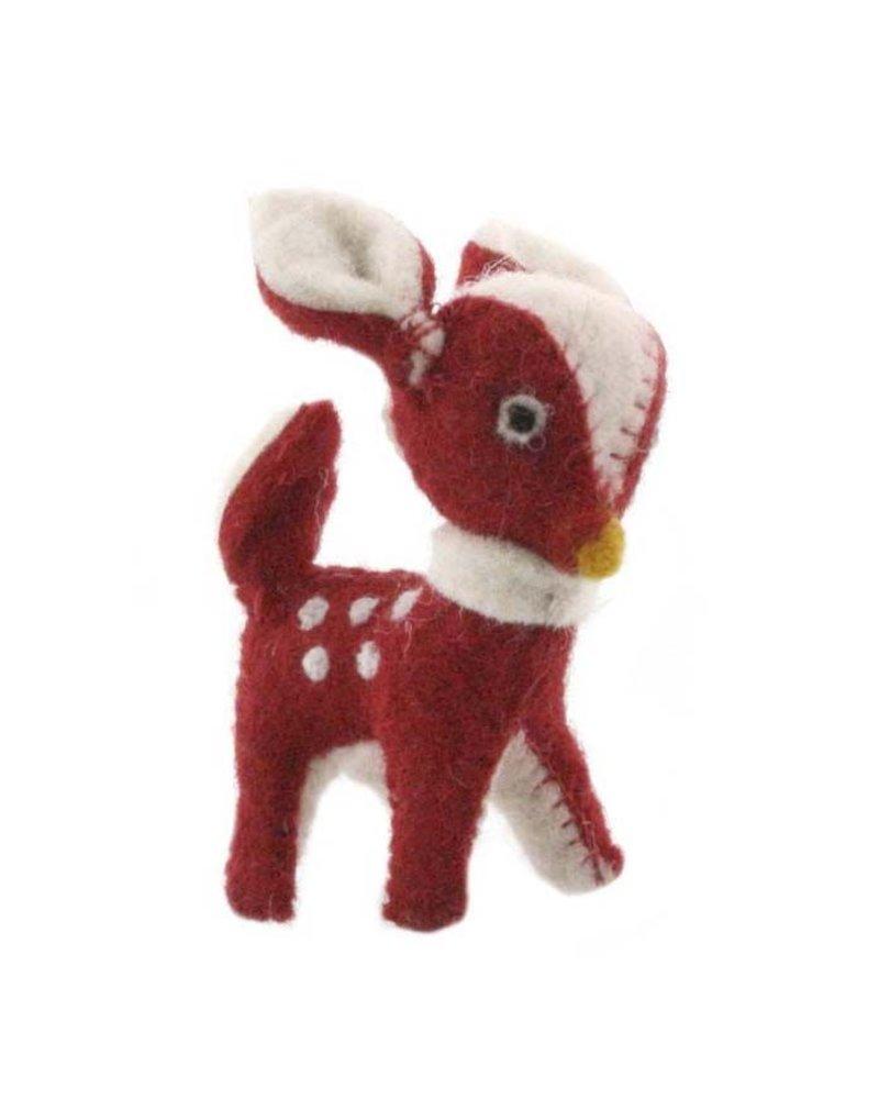 HomArt Felt Christmas Deer Ornament-Red