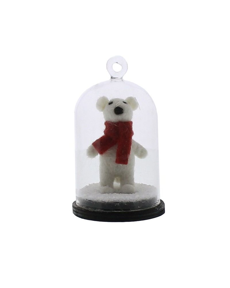 HomArt Snow Globe White Bear Ornament  White with Scarf