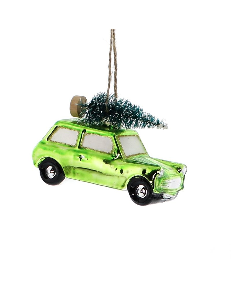 HomArt Glass Green Car with Tree Ornament