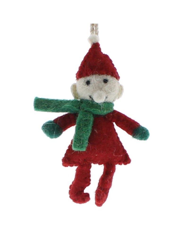 HomArt Felt Elf Ornament  Red and Green