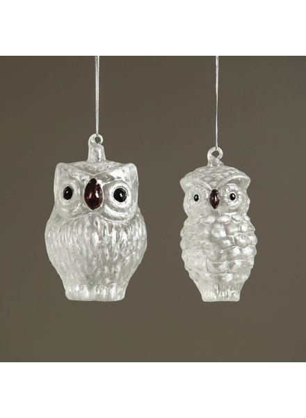 HomArt Frosty Snow Owl Glass Ornament - Sm