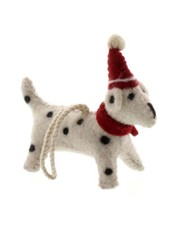 HomArt Felt Christmas Puppy Ornament-White with Black Spots
