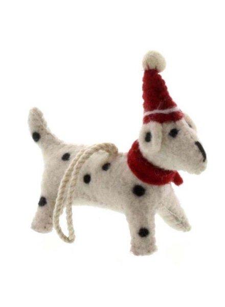 HomArt Felt Christmas Puppy Ornament-White with Black Spots