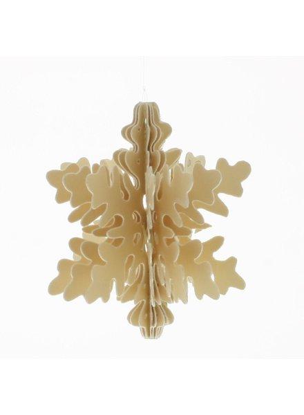 HomArt Snowflake Paper Ornament, Set of 3 Assorted - Natural