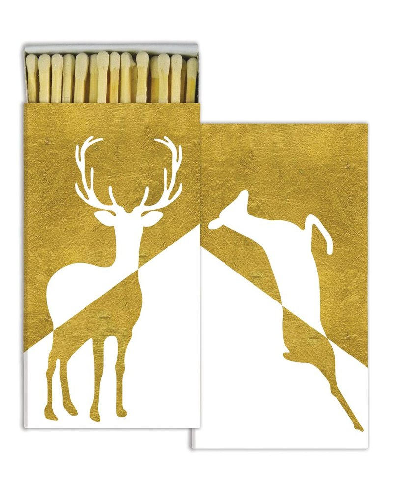 HomArt Gold Foil Stag & Doe HomArt Matches - Set of 3 Boxes