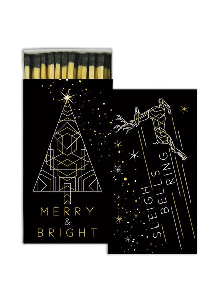 HomArt Merry & Bright HomArt Gold Foil Matches Set of 3 Boxes