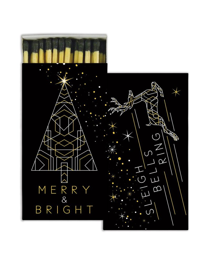 HomArt Merry & Bright HomArt Gold Foil Matches Set of 3 Boxes