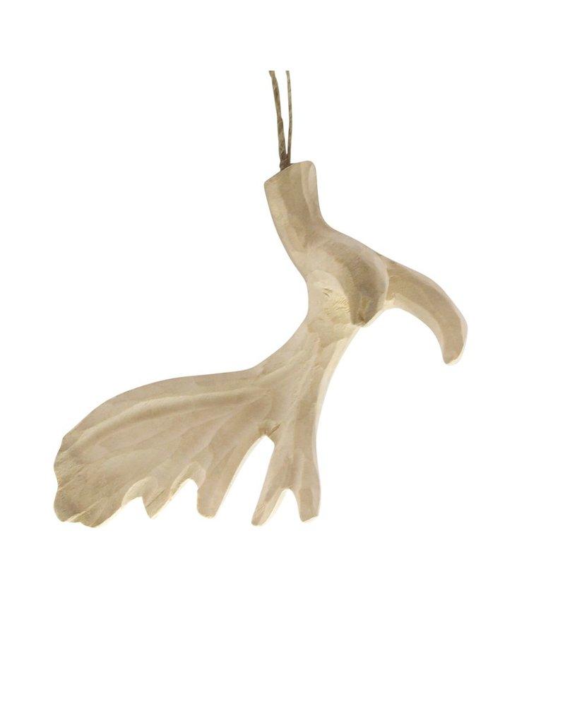 HomArt Carved Wood Antler Ornament - Moose