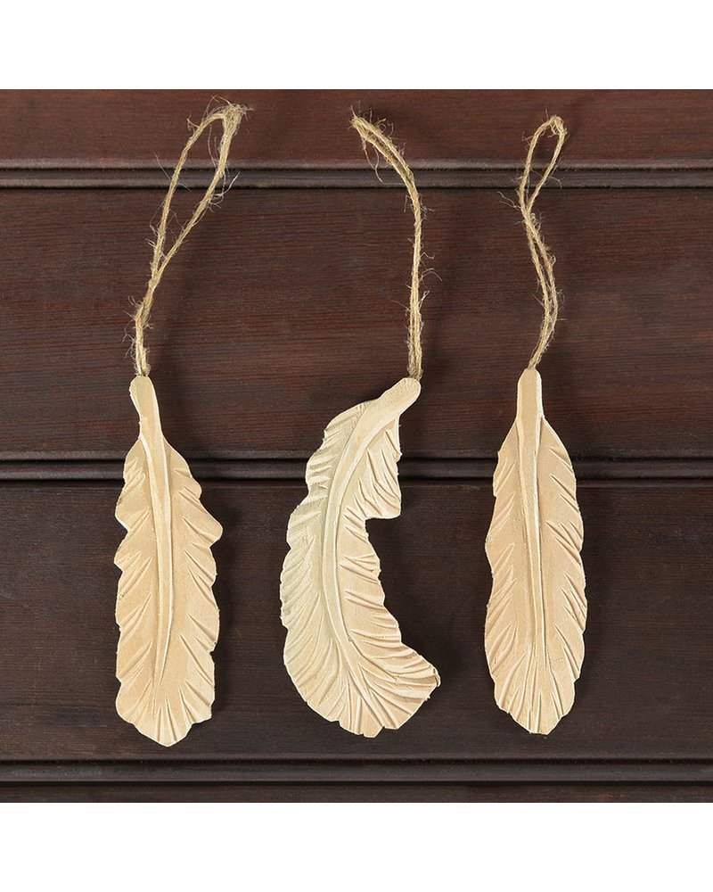 HomArt Carved Wood Feather Ornaments - Set of 3, Assorted